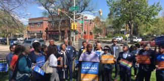 Denver Mayor Michael Hancock speaks at his re-election rally Monday, May 13, 2019 at W.H. Ferguson park. (Photo by Susan Greene)