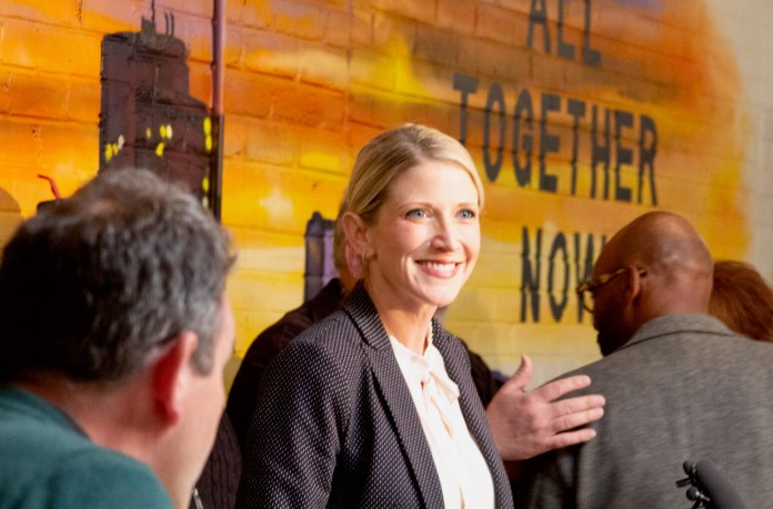 Denver mayoral candidate Jamie Giellis at her campaign headquarters. (Photo by Mark Castillo)