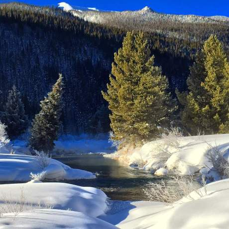 The last dawn of 2014 was classic Colorado winter along the Snake River, near Keystone.