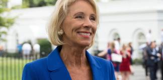 Education Secretary Betsy DeVos at Regional Media Day at the White House on July 25, 2017. (Photo by White House photographer Evan Walker via Flickr: Creative Commons)