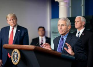 President Donald J. Trump, joined by Vice President Mike Pence, listen as Director of the National Institute of Allergy and Infectious Diseases Dr. Anthony S. Fauci delivers remarks during a coronavirus update briefing Thursday, April 16, 2020, in the James S. Brady Press Briefing Room of the White House. (Official White House Photo by Andrea Hanks)