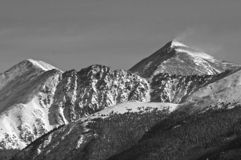 Snow banners and gleaming snowfields along the Continental Divide.