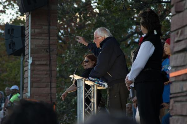 Bernie waves his hands as he speaks about Colorado Care.