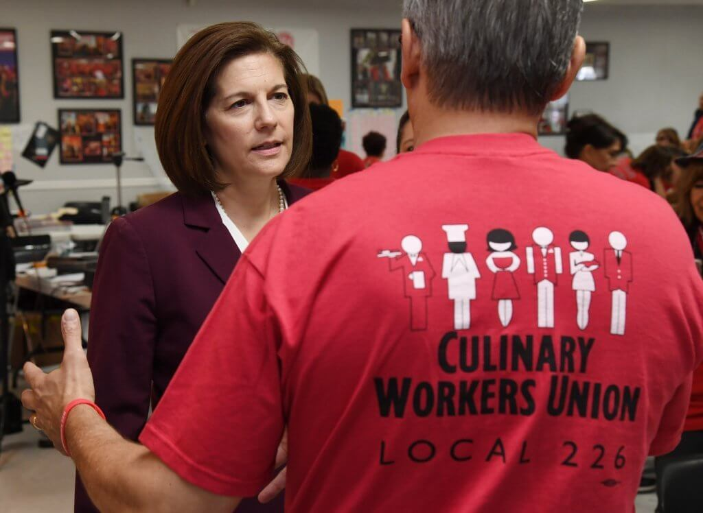 LAS VEGAS, NEVADA - U.S. Sen. Catherine Cortez Masto (D-NV) attends a rally with union at a canvass launch at the Culinary Workers Union Hall Local 226 on November 5, 2018 in Las Vegas, Nevada. (Photo by Ethan Miller/Getty Images)