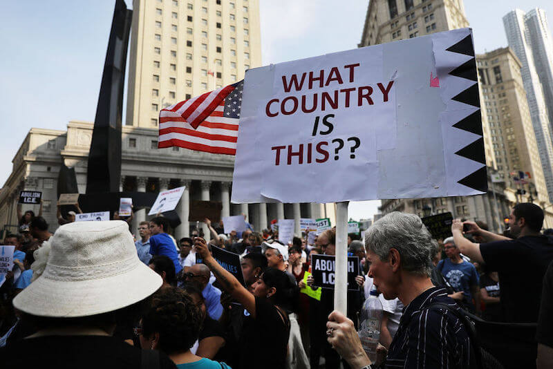 NEW YORK, NY - Hundreds of immigrant rights advocates and others participate in rally and and demonstration at the Federal Building in lower Manhattan against on June 1, 2018 in New York, United States. In coordinated marches across the country people are gathering outside U.S. Immigration and Customs Enforcement (ICE) field offices, U.S. attorney's offices, and the Department of Justice headquarters in Washington, D.C. (Photo by Spencer Platt/Getty Images)
