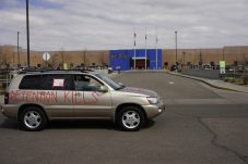 Protesters outside the ICE contracted GEO Facility in Aurora on April 9, 2020. (Photo by Forest Wilson)