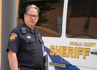 Tony Spurlock, sheriff of Douglas County, does his daily work at the Douglas County Sheriff's Department in Castle Rock, Colorado on June 27, 2019. Spurlock has been sheriff since 2015 and has a 39-year law enforcement career. Spurlock is an outspoken proponent of the red flag bill and has been a major part of its propulsion into being signed as well as fully laid out. (Austin Fleskes   Colorado Independent)