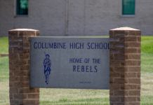 Columbine High School building in Littleton, Colorado on July 15, 2019. Debate is underway about whether the building should be demolished and rebuilt to stop unwanted trourists eager to see the site of the April 1999 mass shooting.(Austin Fleskes for The Colorado Independent)