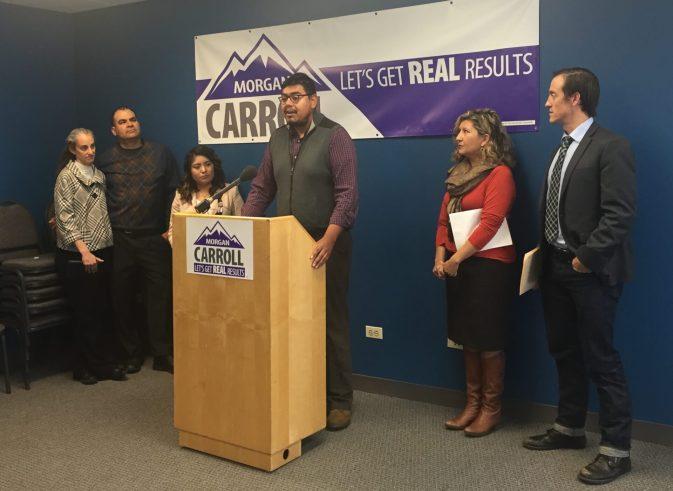 Sergio de la Rosa speaks at a press conference for Morgan Carroll on Monday, April 18.