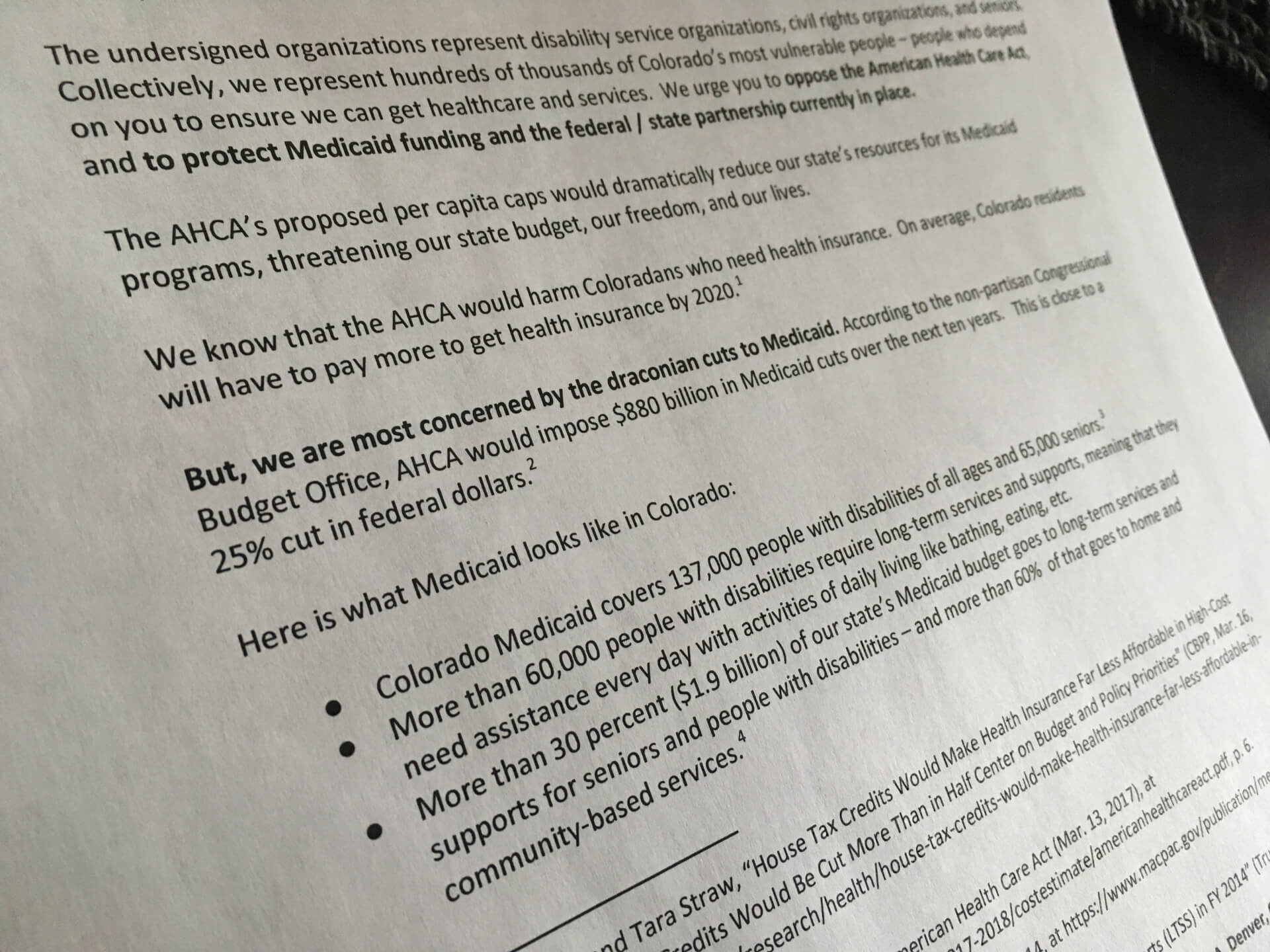 Letter outlines how the AHCA would affect Coloradans with