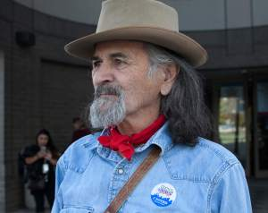 """Billy Bob McCoy of Denver, who voted on Election Day because he's """"old school."""""""