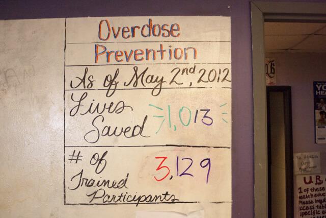 A whiteboard inside the Harm Reduction Action Center in Denver on Feb. 8, 2019. (Photo by John Herrick)