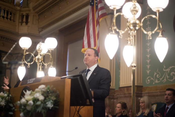 Gov. Jared Polis delivered the state of the state speech on Thursday, Jan. 9, 2020. (Photo by John Herrick)