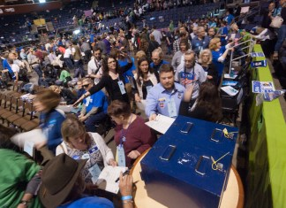 Colorado's presidential primaries take place on Super Tuesday, March 3, but caucuses for U.S. Senate and other races are on March 7. Pictured: Over 3,200 delegates cast their votes for candidates for statewide office during the Democratic state assembly at the 1stBank Center in Broomfield on Saturday, April 14, 2018. (Photo by John Herrick)