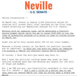 Senator Tim Neville, a GOP candidate for U.S. Senate, is holding a gun giveaway as part of his campaign.