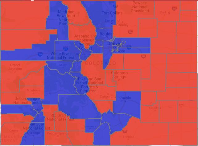 A Democratic wave surged deep into Colorado's key counties