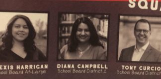 A mailer sent by a political committee backed by the Denver teachers union stirred controversy by stripping candidates Alexis Menocal Harrigan and Diana Romero Campbell — both of whom it is seeking to defeat — of their Spanish surnames. (Image via Chalkbeat Colorado)