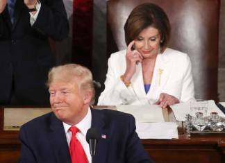 WASHINGTON, DC - FEBRUARY 04: President Donald Trump delivers the State of the Union speech as House Speaker Rep. Nancy Pelosi (D-CA) looks on in the chamber of the U.S. House of Representatives on February 04, 2020 in Washington, DC. President Trump delivers his third State of the Union to the nation the night before the U.S. Senate is set to vote in his impeachment trial. (Photo by Mark Wilson/Getty Images)