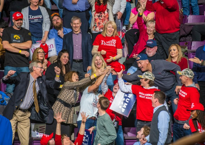 Supporters of President Donald Trump at the Broadmoor World Arena in Colorado Springs on Thursday, Feb. 20, 2020. (Photo by Evan Semon)