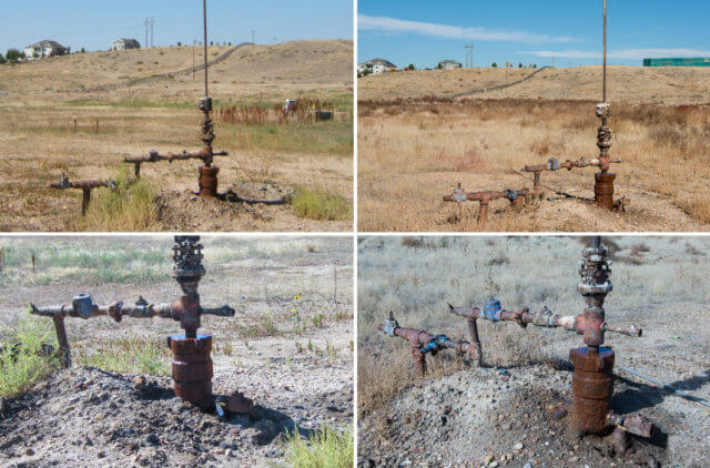 Adams County #1 well, Texas Tea, in the growth area of Brighton, on the edge of Todd Creek estates, on top of an old garbage dump, not far from the Brighton drinking water reservoirs. This well head was sited with a violation by the COGCC in 2012 for leaking. As of today, nothing has been fixed, by either Texas Tea or the COGCC. The well head is still leaking. Side-by-side images taken by the COGCC in 2012 and Ted Wood in Oct. 2016. (Photo credits: COGCC and Ted Wood)