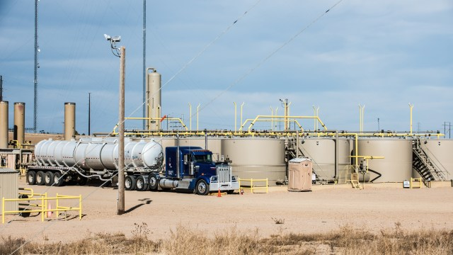 Storage tanks at an Extraction facility in Greeley, Colorado. (Ted Wood/The Story Group)