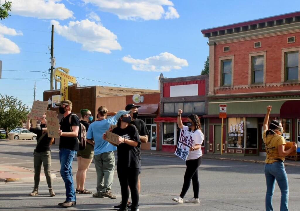 Protesters marching in downtown Alamosa on June 4, 2020 moments before the shooting. Shooter James Marshall is pictured at far left. (Photo by Megan Colwell/Valley Courier)