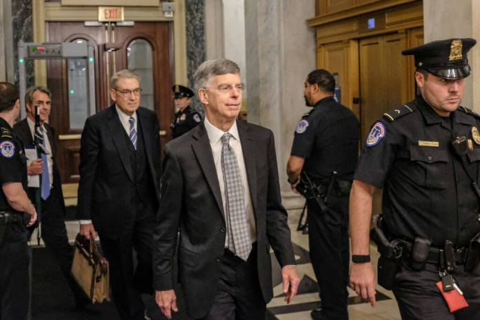 WASHINGTON, DC - OCTOBER 22: Bill Taylor, the top U.S. Diplomat to Ukraine, leaves Capitol Hill on October 22, 2019 in Washington, DC. Taylor testified to the house committees regarding the impeachment inquiry looking into President Donald Trumps relationship with Ukraine. (Photo by Alex Wroblewski/Getty Images)