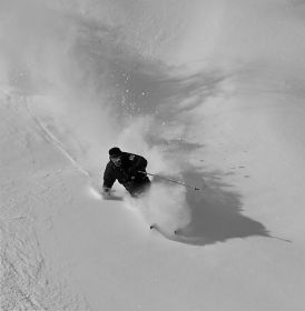 Black and white powder skiing