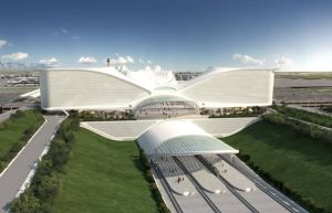 Santiago Calatrava was the original architect appointed to design the Denver International Airport hotel. This is what his design would have looked like. Courtesy of Santiago Calatrava