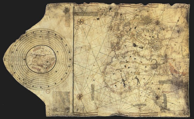 """The """"Columbus Map"""" drawn circa 1490 in the workshop of Bartolomeo and Christopher Columbus in Lisbon. The world is much larger than Columbus  suspected. (Click to enlarge.)"""