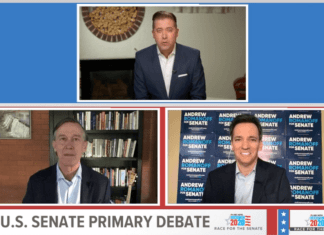 John Hickenlooper and Andrew Romanoff outlined their differences in a virtual debate in the Democratic primary for U.S. Senate, moderated by Kyle Clark of 9News on June 9, 2020.