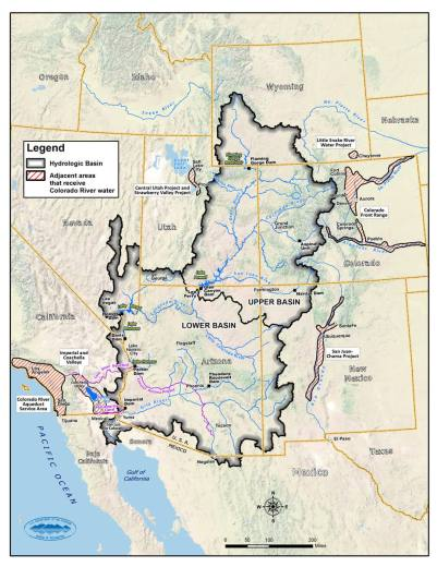 The Colorado River Basin watershed spreads across seven Western states. The Colorado River supplies water to more than 44 million people. U.S. Bureau of Reclamation