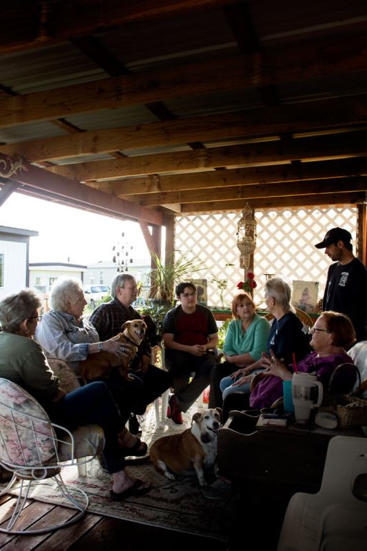 A group of people from the Montrose, Colorado, area gather to talk about their experiences with Sunset Mesa Funeral Directors, now under investigation by the FBI. (Luna Anna Archey/High Country News)