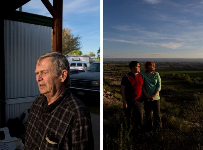 Left, Rick Neuendorf blames himself for not noticing anything suspicious about his interactions with Sunset Mesa after the death of his wife. Right, Judy Cressler and her son Shane Williams. Instead of being donated to science as he wished, Cressler's father was allegedly sold to a plastination company. (Luna Anna Archey/High Country News)