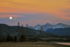 The Nov. 2012 full moon rising over the Continental Divide, with Grays, Torreys and Grizzly Peak, near Loveland Pass, dominating the skyline.