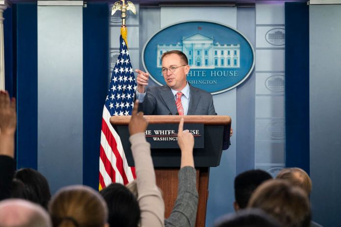 White House acting Chief of Staff Mick Mulvaney speaks with reporters Thursday, Oct. 17, 2019, in the James S. Brady Press Briefing Room at the White House. (Official White House Photo by Joyce N. Boghosian)