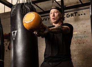 Mike Mielke, in recovery from drug and alcohol addiction, trains at The Phoenix sober gym in Denver on Feb. 18, 2019. (Photo by Brien Hollowell, courtesy of Mike Mielke)
