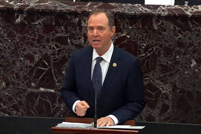 WASHINGTON, DC - JANUARY 22: In this screengrab taken from a Senate Television webcast, House impeachment manager Rep. Adam Schiff (D-CA) speaks during impeachment proceedings against U.S. President Donald Trump in the Senate at the U.S. Capitol on January 22, 2020 in Washington, DC. (Photo by Senate Television via Getty Images)