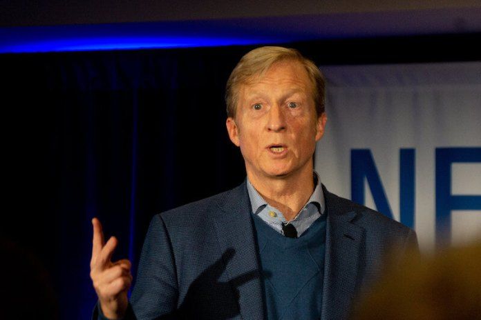 Billionaire Tom Steyer, who this week declared he is joining the sprawling Democratic field of candidates running for president, in New Hampshire in January 2019. (Photo by Marc Nozell via Flickr: Creative Commons)