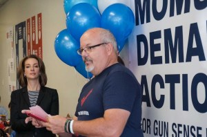 Tom Sullivan, who lost his son in the Aurora Theater shooting, speaks at a Moms Demand Action phone bank event in their new JeffCo office. Photo courtesy of CMDA.