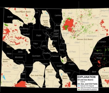 The Wattenberg Field as a spreading red gas patch north of Denver.