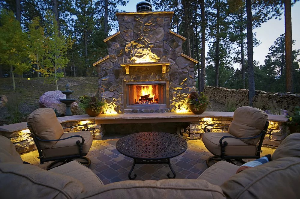 lighted outdoor living area - Fredell Enterprises, Inc. on Mountain Backyard Ideas id=82928
