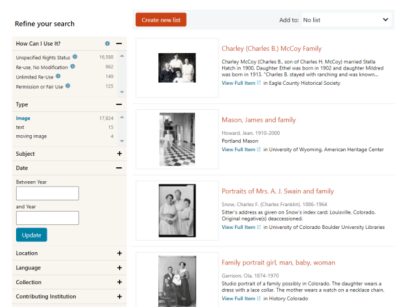 Search page results from DPLA