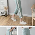 Cheap Cotton Linen Ankle Length Pants Women S Spring Summer Casual Trousers Pencil Casual Pants Striped Women S Trousers Green Pink Sale Online