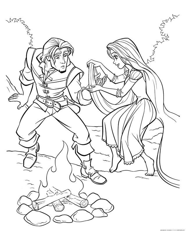 Coloriage Raiponce et son prince à imprimer
