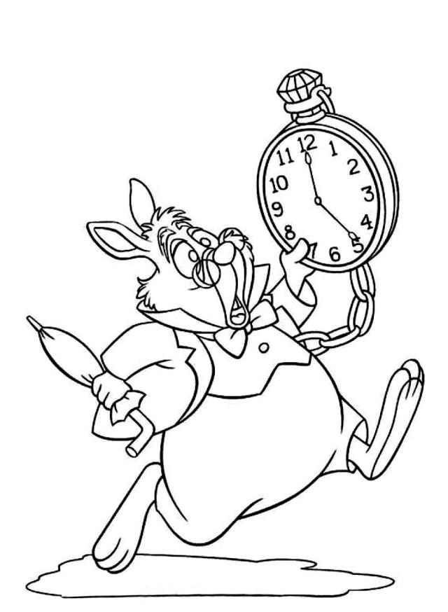 Coloriage lapin blanc Alice à imprimer