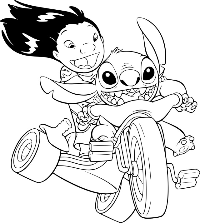 Coloriage Lilo et Stitch en vélo à imprimer
