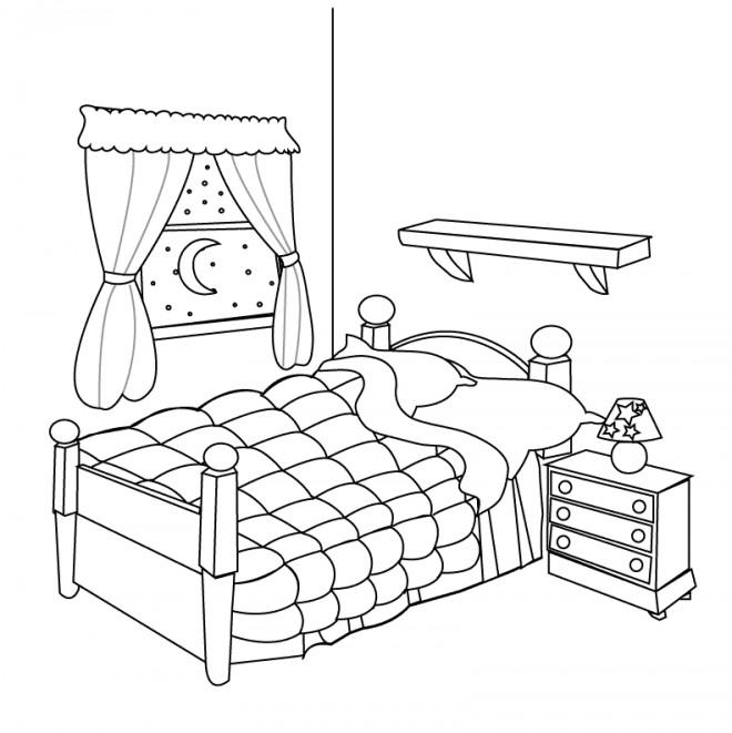 coloriage chambre a coucher dessin