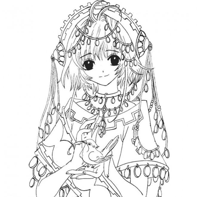 coloriage fille manga en noir et blanc