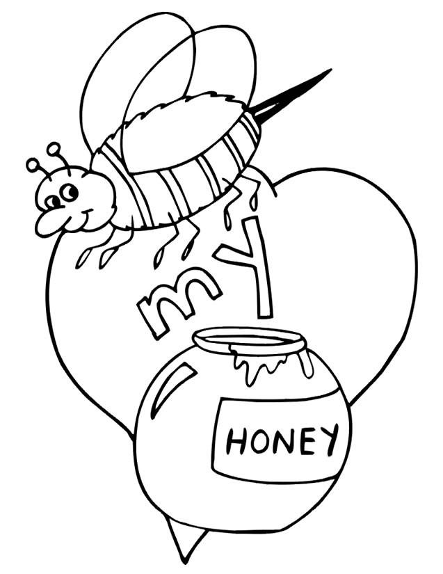 coloriage abeille et le miel pour